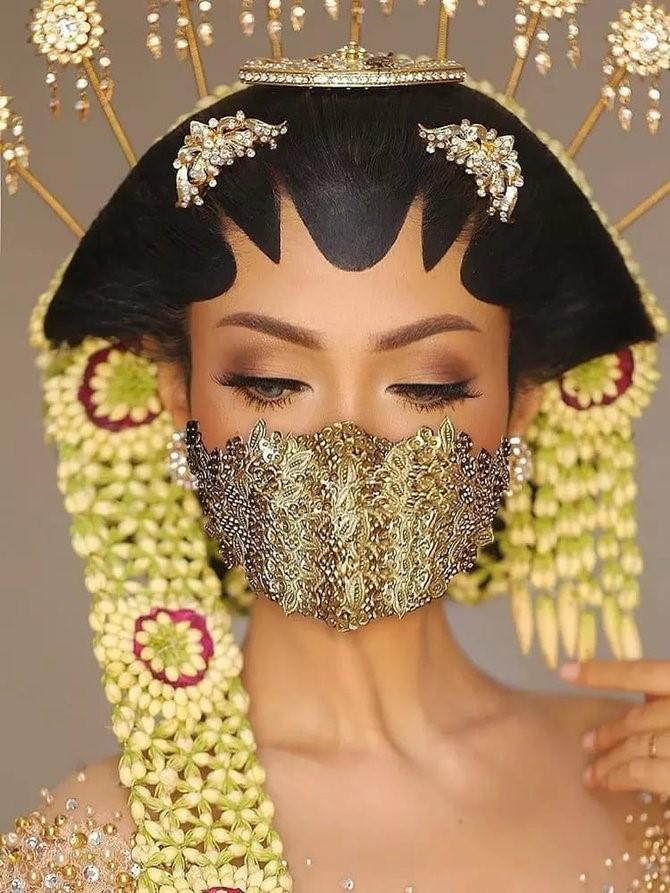 Menikah di Tengah Pandemi Corona, Ini 6 Gaya Pengantin Wanita Pakai Masker Unik